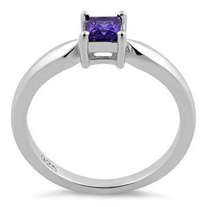 Sterling Silver Square Amethyst CZ Ring