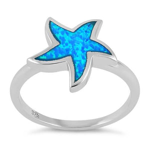 Sterling Silver Starfish Blue Lab Opal Ring