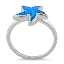 Load image into Gallery viewer, Sterling Silver Starfish Blue Lab Opal Ring
