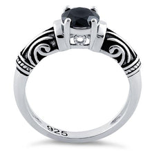 Load image into Gallery viewer, Sterling Silver Tribal Round Cut Black CZ Ring