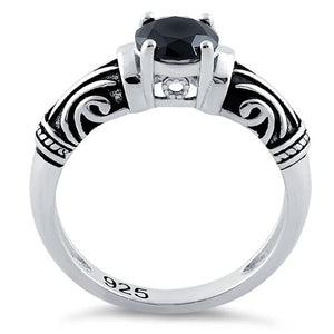 Sterling Silver Tribal Round Cut Black CZ Ring