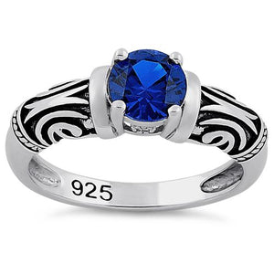Sterling Silver Tribal Round Cut Blue Spinel CZ Ring