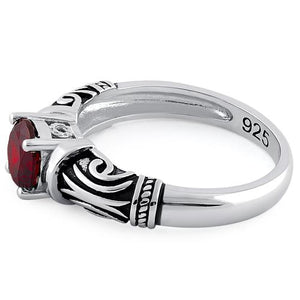 Sterling Silver Tribal Round Cut Garnet CZ Ring