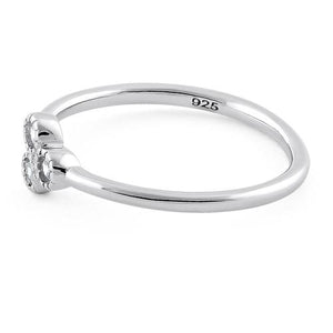 Sterling Silver Triplet Round Cut Clear CZ Ring