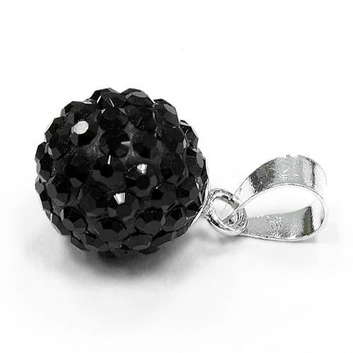 Sterling Silver Black CZ Ball Pendant