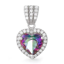Load image into Gallery viewer, Sterling Silver Rainbow Topaz Big Heart CZ Pendant