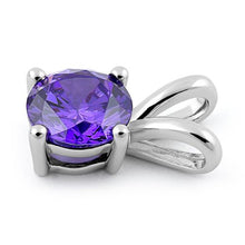 Load image into Gallery viewer, Sterling Silver Round Amethyst CZ Pendant