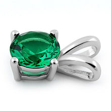 Load image into Gallery viewer, Sterling Silver Round Emerald CZ Pendant