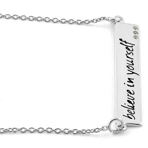 "Sterling Silver ""Believe in yourself"" CZ Necklace"