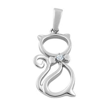 Load image into Gallery viewer, Sterling Silver Bow Tie Cat Clear CZ Pendant