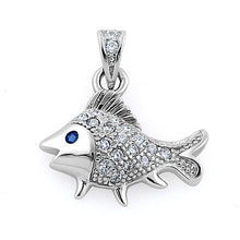 Load image into Gallery viewer, Sterling Silver Elegant Fish Blue Spinel CZ Pendant