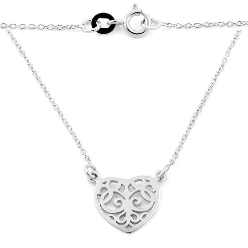 Sterling Silver Heart Filigree Necklace