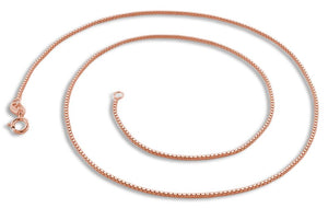 "14K Rose Gold Plated Sterling Silver 22"" Box Chain 0.85MM"