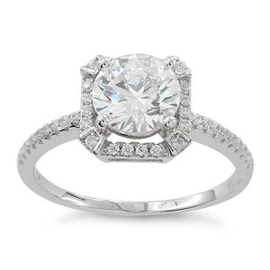 Sterling Silver Clear Round Halo Pave CZ Ring