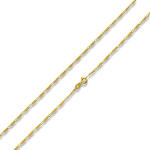 14K Gold Plated Sterling Silver Figaro Chain 1.7MM