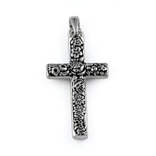 Load image into Gallery viewer, Sterling Silver Flora Cross Pendant
