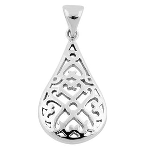 Sterling Silver Hearts Drop Pendant