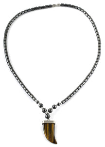 "18"" Tiger Eye Flat Tooth Stone Hematite Necklace"