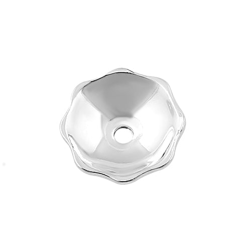 Sterling Silver Bead Plain Cap - PACK OF 12