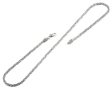 "Load image into Gallery viewer, Sterling Silver 8"" Square Byzantine Chain Necklace - 2.5MM"