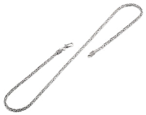 "Sterling Silver 8"" Square Byzantine Chain Necklace - 2.5MM"