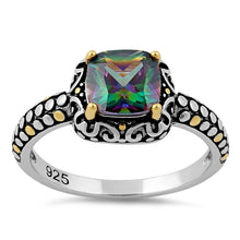 Load image into Gallery viewer, Sterling Silver Celtic Rainbow Topaz Cushion CZ Ring
