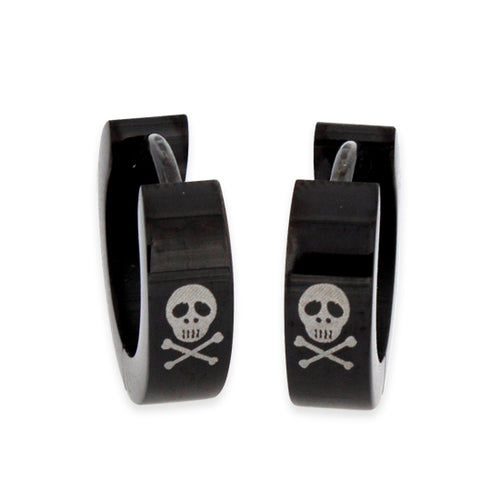 Stainless Steel 4mm Black and Skull Huggie Earrings