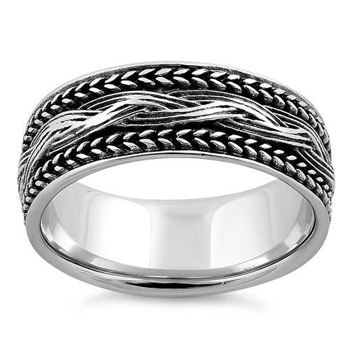 Sterling Silver Braided Bali Ring