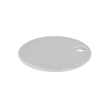 Load image into Gallery viewer, Sterling Silver Charm Round Flat Disc w/ Hole 9mm - PACK OF 4