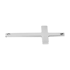 Sterling Silver Charm Sideways Cross 22.5 x 14.5mm