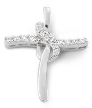 Load image into Gallery viewer, Sterling Silver Cross CZ Pendant