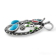 Load image into Gallery viewer, Sterling Silver Enamel Butterfly & Flowers Simulated Turquoise Marcasite Pendant