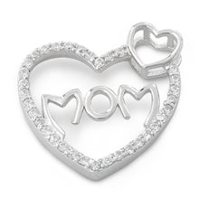 Load image into Gallery viewer, Sterling Silver Mom Heart CZ Pendant