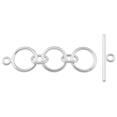 Sterling Silver Toggle Clasp 3 Rings 10mm