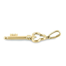 Load image into Gallery viewer, Solid 14K Yellow Gold Clover Key Pendant