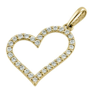 Solid 14K Yellow Gold Heart Clear CZ Pendant