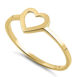 Solid 14K Yellow Gold Heart Outline Ring