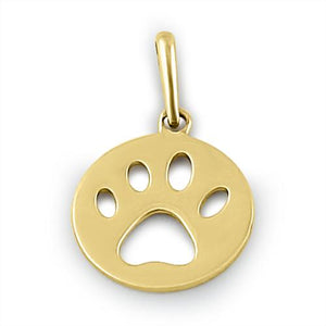 Solid 14K Yellow Gold Dog Paw Pendant