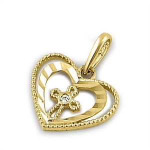 Solid 14K Yellow Gold Double Heart Cross with Clear CZ Pendant