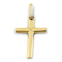 Load image into Gallery viewer, Solid 14K Yellow Gold Plain Cross Pendant