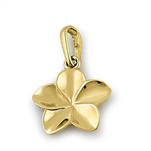 Solid 14K Yellow Gold Plumeria Flower Pendant