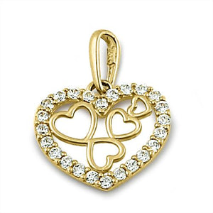 Solid 14K Yellow Gold Quintuple Clear CZ Heart Pendant