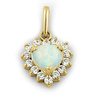 Solid 14K Yellow Gold White Opal & Clear CZ Halo Heart Pendant