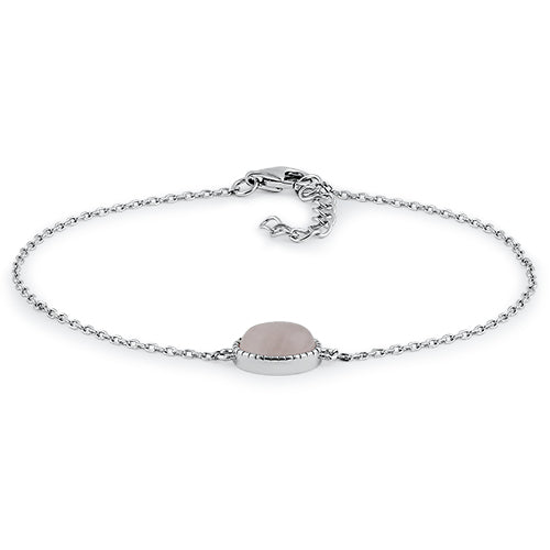 Sterling Silver Dusty Pink Oval Bracelet