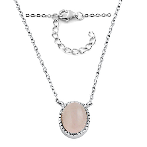 Sterling Silver Rose Qwartz Oval Stone Necklace