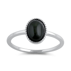 Sterling Silver Black Agate Oval Stone Ring