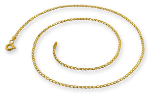 14K Gold Plated Sterling Silver Long Curb Chain 1.4MM