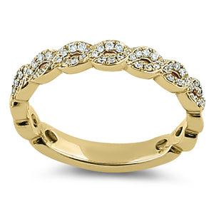 Solid 14K Yellow Gold Elegant Twist  0.10 ct. Diamond Band