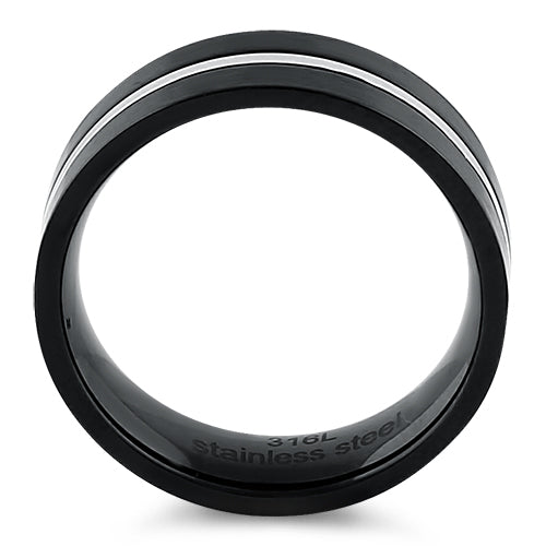 Black Stainless Steel 7mm Satin Finish Striped Band Ring