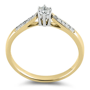 Solid 14K Yellow Gold Dainty  0.05 ct. Diamond Ring